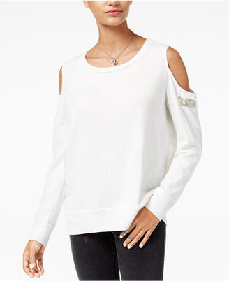 American Rag Juniors' Embellished Cold-Shoulder Sweatshirt, Created for Macy's