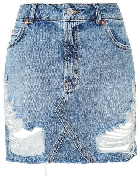 TopshopTopshop Moto rip denim mini skirt