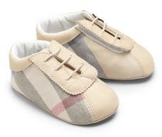 Burberry Infant's Check Lace-Up Crib Shoes $150 thestylecure.com