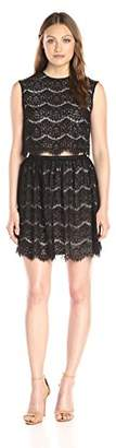 Lark & Ro Women's Scalloped Lace Crop Top and Skirt Two Piece Set