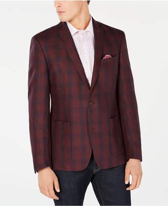 Bar III Men's Slim-Fit Red/Navy Plaid Sport Coat