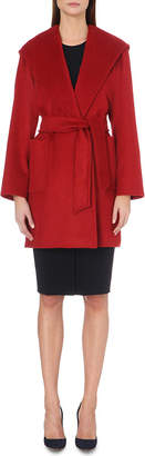 Max Mara Ladies Red Patch Pocket Luxury Rialto Hooded Camel Hair Coat