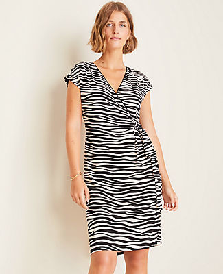 Ann Taylor Zebra Print Matte Jersey Wrap Dress
