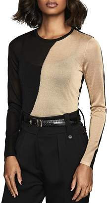 Reiss Adele Metallic Color-Blocked Sheer Knit Top