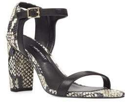 Nine West Nemble Snake Print Leather Ankle-Strap Sandals
