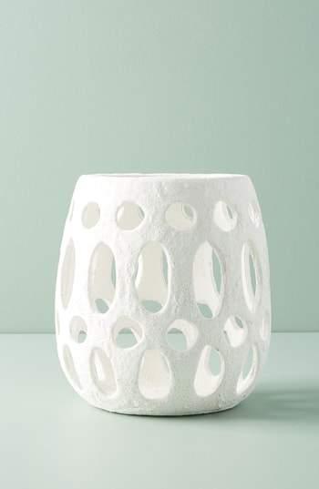 Hand Carved Ceramic Hurricane Candleholder
