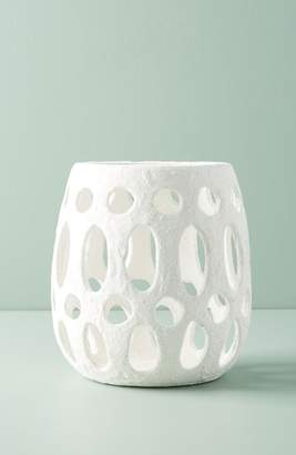 Anthropologie Hand Carved Ceramic Hurricane Candleholder