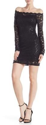 Jump Long Sleeve Sequin Lace Dress