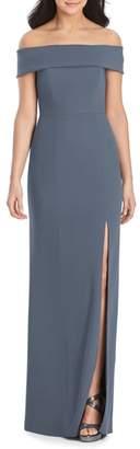 Dessy Collection Off the Shoulder Side Slit Crepe Gown