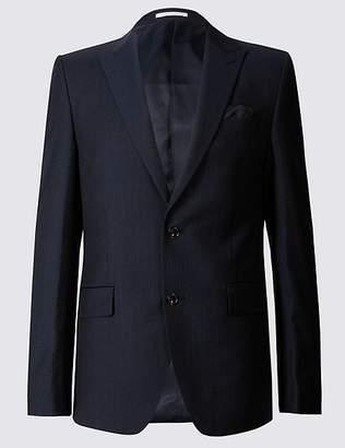 Marks and Spencer Navy Herringbone Slim Fit Jacket