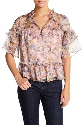 KENDALL + KYLIE Kendall & Kylie Floral Print Ruffle Blouse