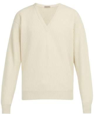 Bottega Veneta Ribbed Knit Cashmere Blend Sweater - Mens - Cream
