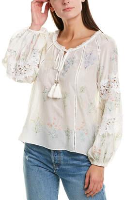Love Sam Embroidered Peasant Silk-Blend Blouse