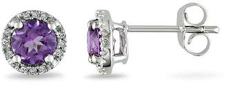 JCPenney FINE JEWELRY Lab-Created Alexandrite and Diamond-Accent 10K White Gold Stud Earrings