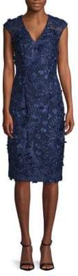 Carmen Marc Valvo V-Front Embroidered Sheath Dress