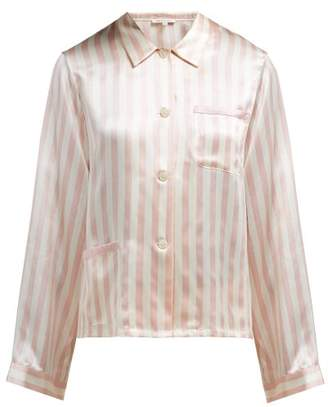 Morgan Lane - Ruthie Striped Silk Charmeuse Pyjama Top - Womens - Pink  Stripe a4388c535