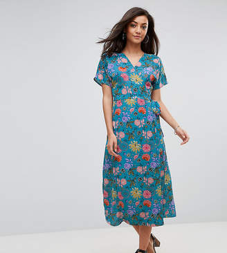 Acheter Prix Bon Marché Gros Rabais Longue Robe De Thé Manches En Fleurs Illustré - Rose Floral Bleu Glamour eS8gVXY2Ga
