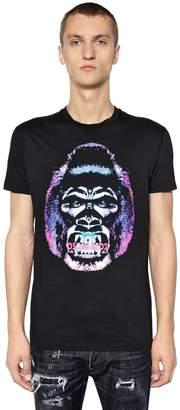 DSQUARED2 Gorilla Printed Cotton Jersey T-Shirt