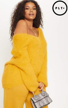 PrettyLittleThing Plus Mustard Eyelash Knitted Jumper