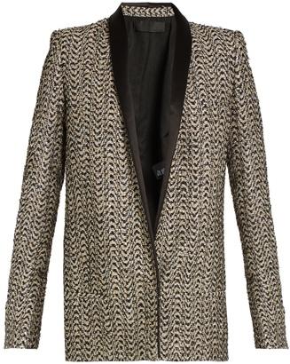 HAIDER ACKERMANN Depompadour shawl-lapel metallic-tweed jacket $3,136 thestylecure.com