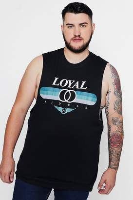 boohoo Big & Tall Loyal Print Tank