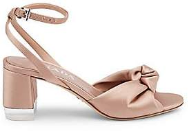 Prada Women's Satin Knotted Ankle-Strap Sandals