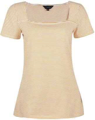 Dorothy Perkins Womens Ivory And Yellow Square Neck T