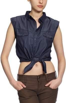 Cross Jeans Women's Sleeveless Blouse - Blue - - (Brand size: XL)