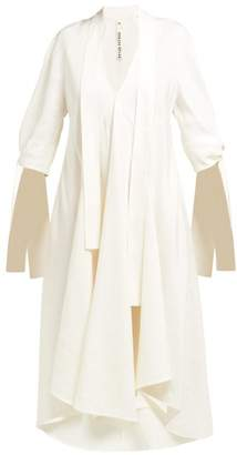 Petar Petrov Dillon Draped Twill Midi Dress - Womens - White