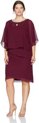 Le Bos Women's Plus Size Beaded Neck Poncho Dress W/Tiers