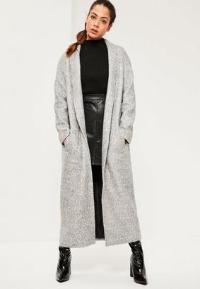 Grey Shawl Textured Faux Wool Longline Coat $143 thestylecure.com