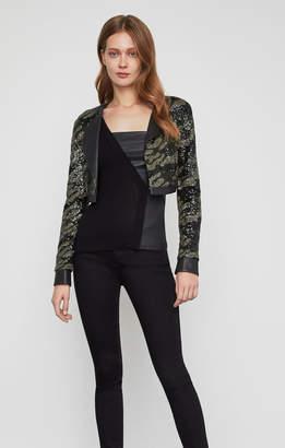 BCBGMAXAZRIA Camo Sequin Crop Jacket
