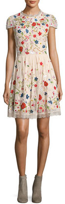 Alice + Olivia Ariel Cap-Sleeve Embroidered Lace Cocktail Dress, Multicolor $995 thestylecure.com