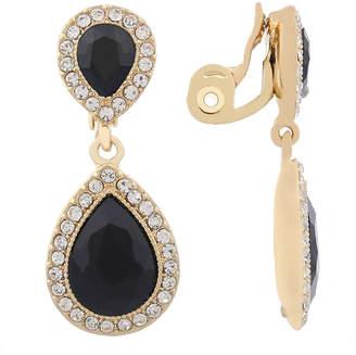 MONET JEWELRY Monet Jewelry Black Goldtone Large Drop Clip Earring