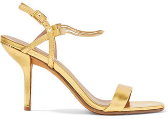 Diane von Furstenberg Frankie Embellished Metallic Leather Sandals - Gold