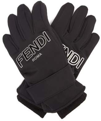 Fendi Logo Patch Padded Ski Gloves - Womens - Black