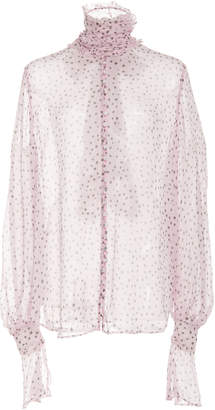 Acler Wendall Tie-Cuff Dotted Sheer Turtleneck Blouse