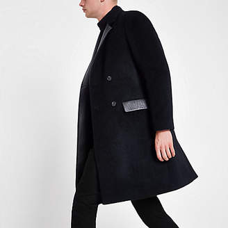 River Island Navy wool blend leather panel longline coat