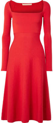Brock Collection Kimmie Cotton And Silk-blend Ponte Midi Dress - Red