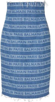Balmain Frayed Logo-Printed Denim Skirt