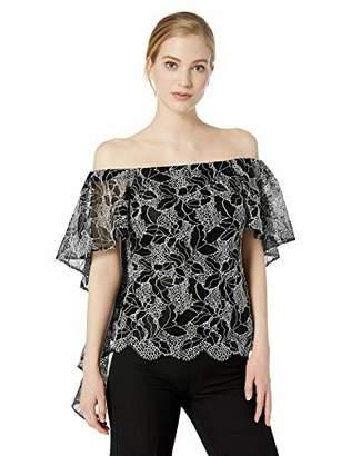 Halston Women's Off-Shoulder Flounce Sleeve Lace Top