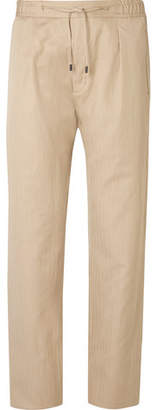 Fendi Tapered Herringbone Linen and Cotton-Blend Drawstring Trousers