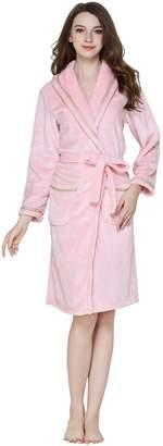 Cityoung Women's Soft and Warm Fleece Bathrobe Sleep Robe with Pockets ,S