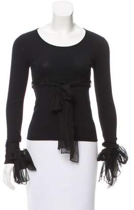 Chanel Tie-Accented Long Sleeve Top