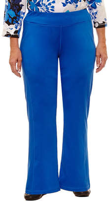 Alfred Dunner Easy Going Woven Flat Front Pants-Plus Short