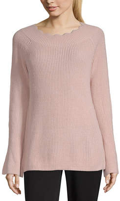 Liz Claiborne Bell Sleeve Scalloped Neck Pullover Sweater