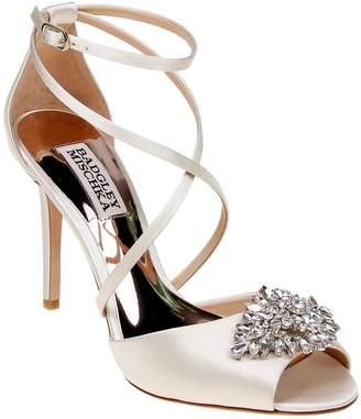 Badgley Mischka Tatum Embellished Satin Ankle-Strap Pumps