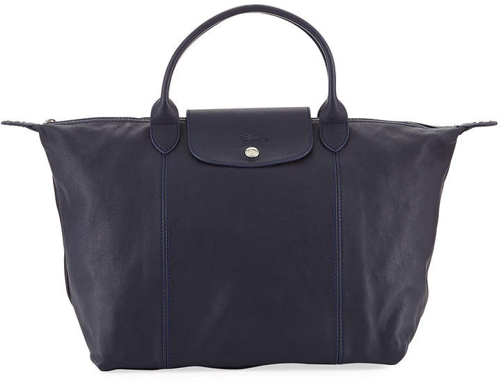 Longchamp Le Pliage Cuir Etoiles Medium Leather Handbag with Strap - DARK BLUE - STYLE