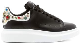 Alexander Mcqueen - Jewel Studded Raised Sole Leather Trainers - Mens - White Black