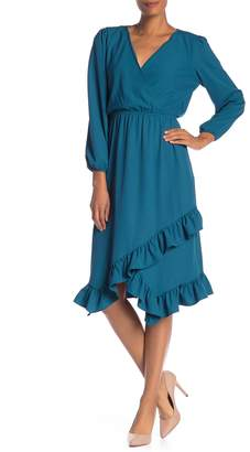 Laundry by Shelli Segal V-Neck Asymmetrical Ruffle Hem Dress